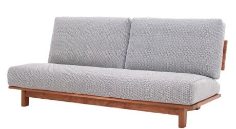 ウォールナット無垢材のソファ、アームレス