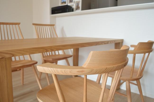 タモ無垢材のテーブル:神戸市東灘区