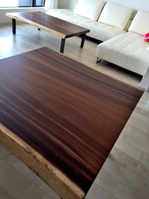 モンキーポッド一枚板 ダイニングテーブル&ローテーブル