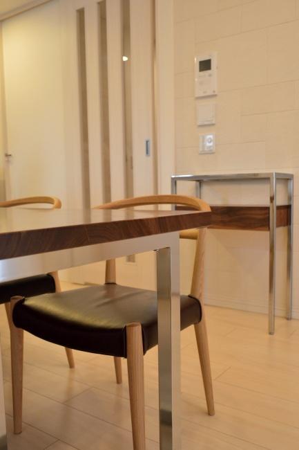 ウォールナット無垢材 コンソールテーブル&ダイニングテーブル