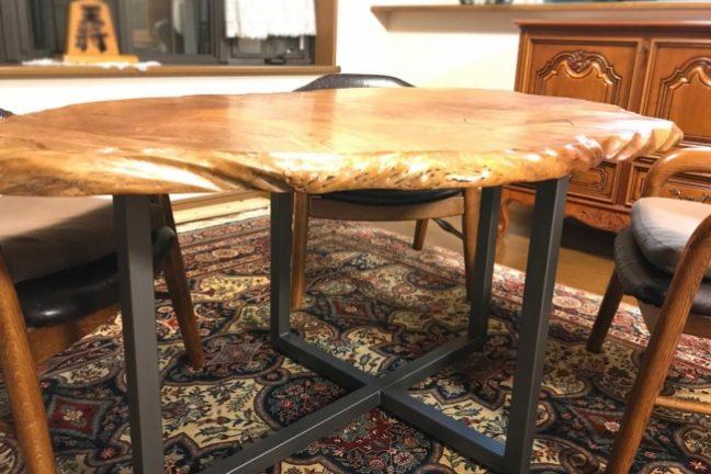 一枚板テーブルのリメイク修理