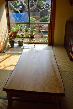 ケヤキ一枚板の座卓