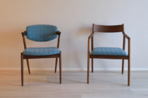 宮崎椅子製作所のno42チェアのタンバリン生地張り