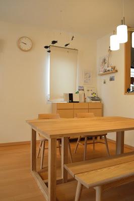 タモ無垢材オーダーテーブル