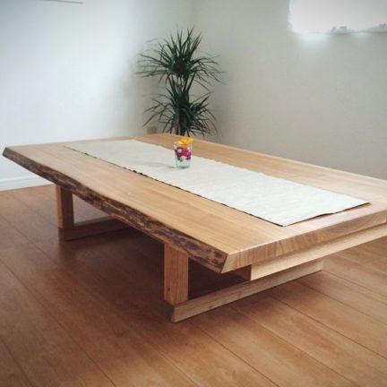タモ無垢材耳つき座卓テーブル
